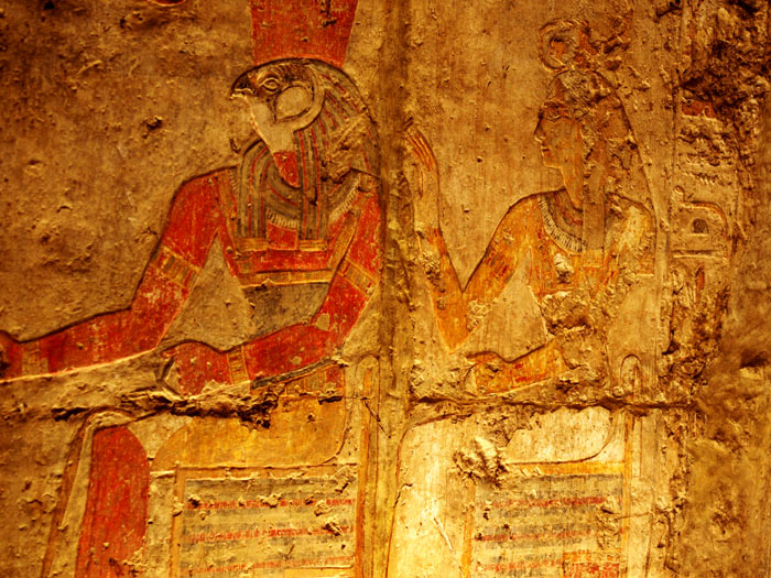 Paintd Wall Carving of Pharoah and Queen